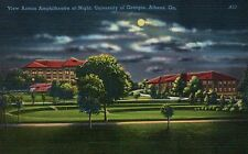 University of Georgia at Night, Athens, GA - Old Vintage Standard Linen Postcard