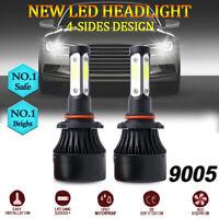 Pair 4-sides LED Headlight Kit 9005 HB3 H10 9140 9145 2500W 6000K 350000LM Bulbs
