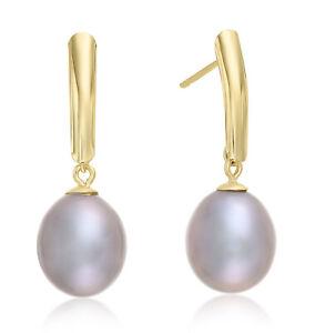 14k Yellow Gold Pearl Drop Dangle Earrings, Smoky Gray Freshwater Cultured Pearl