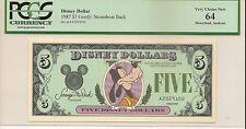 1987 A $5 Goofy Disney Dollar PCGS 64 Very Choice New 1st Year Issue Disneyland