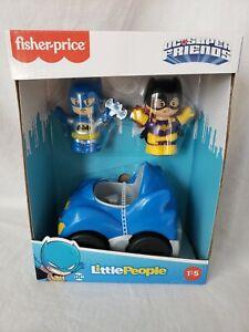 Fisher-Price Little People DC Super Friends Batman & Catwoman Batmobile Set NEW