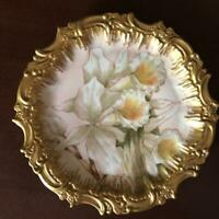 1893 T&V Tressemanes & Vogt Limoges France Collectible Porcelain Plate Orchids