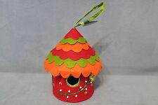 "Cute Decorated Hanging Felt Round Birdhouse Figurine Orange Red Green 5 3/4"" T"