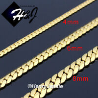 "18-40""MEN Stainless Steel 4mm/6mm/8mm Gold Miami Cuban Curb Chain Necklace*GN155"