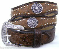 NOCONA belts men's western accessories nailhead concho BROWN LEATHER BELT 38 NWT