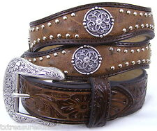 NOCONA belts men's western accessories nailhead concho BROWN LEATHER BELT 46 NWT