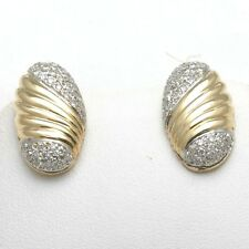 Vintage 14k white yellow gold Diamond Earrings Oval pave .80 carat posts