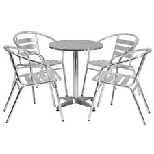 Flash Furniture 23.5'' Round Aluminum Indoor-Outdoor Table with 4 Slat Back...
