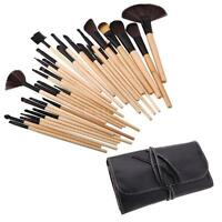 32 PCS Makeup Brush Cosmetic Set Kit Case Make-up Brushes Kabuki Pouch Bag W32