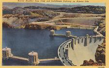 Linen Postcard A513 Hoover Boulder Dam Crest Switchback Highway on Arizona Side