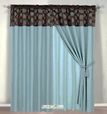 4Pc Tropical Palm Leaf Jacquard Curtain Set Slate Blue Brown Valance Drape Liner