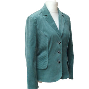 Women Jacket Size M Cord Turquoise Green Single Breasted Blogger Boho On Trend