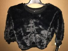 NWT afton Street Toddler Girls 4T Black Faux Fur, Long Sleeve Lined Sweater