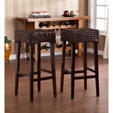"southern enterprises llc pair water hyacinth 30"" high bar stools in brown"