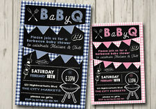 BaBy-Q BABY SHOWER Invitation GIRL / BOY Party Invite BABY Q Shower BBQ invite