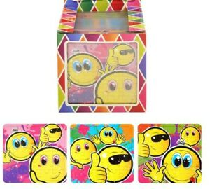 6 children Emoji JIGSAW PUZZLE toy Party Bags Filler GOODY gift kidS