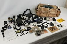 Nikon FA Black 35mm SLR Film Camera w/3x Lens + Many Accessories - UNTESTED