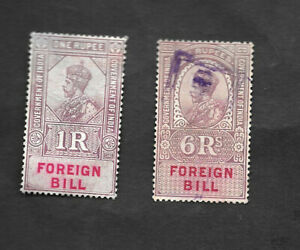 INDIA - 1923 FOREIGN BILL REVENUE, BAREFOOT 48 & 51, Used