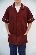 Burgundy NHS Male Nurse Uniform Nurse Tunic Man wine Healthcare top Carehome