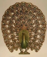 PEACOCK  Vintage 1960's Burwood PEACOCK Decorative Wall Hanging Large 34 X 30