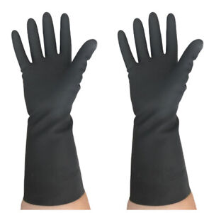 BLACK LADIES RUBBER CLEANING/WASHING UP GLOVES MEDIUM HEAVY DUTY/PROFESSIONAL