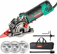 Mini Circular Saw, HYCHIKA Circular Saw with 3 Saw Blades, Laser Guide, Scale