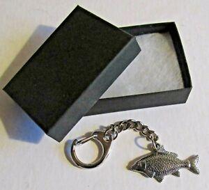 F) KEY-RING PEWTER CARP FRESH WATER FISH COMMON BLACK MUD SILVER GRASS BIGHEAD