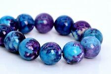 "6MM Purple & Blue Rain Flower Jade Beads Grade AAA Round Loose Beads 7.5"""