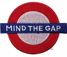 MIND THE GAP IRON ON PATCH LONDON TUBE UNDERGROUND EMBROIDERY BADGE 208