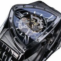 NEW Triangle Skeleton Black Automatic Watch Stainless Steel Waterproof For MEN