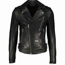 New DIESEL Black Soft Leather Biker Jacket XL Gold Style RRP £750