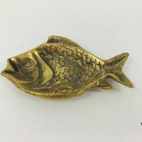 VINTAGE  BRASS FISH SOAP DISH TRINKET DISH ASHTRAY WALL PLAQUE