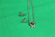 Tiffany & C0. Paloma Picasso Heart Necklace W Matching Earrings