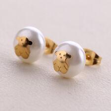 Woman Girl Teddy Bear Carbon teel Pearl Stud Pierced Earrings Jewelry