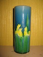 """Signed """"Japan"""" Awaji Vase 1922-1939 Cobalt Blue Green Yellow Incised Iris 5 1/4"""""""