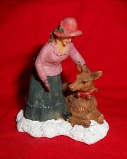 (G-105) Holiday/Train Village Figure - Lady Petting Deer - Excellent