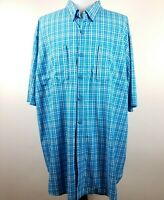 Duluth Trading Co. Mens Vented Size 2XL Tall Short Sleeve Button Up Plaid Blue
