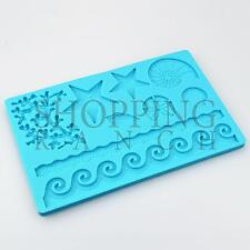Sea Ocean Wave Starfish Shell Seaweed Silicone Mould Cake Decoration Mold