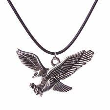 Unisex Fashion Eagle Pendant Black Leather Cord Chain Charm Choker Necklace