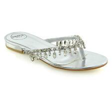 Womens Flip Flop Diamante Sandals Ladies Sparkly Toe Post Holiday Beach Sliders