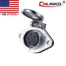 5 Pin Power Signal Connector Female Socket Waterproof IP67 Cap Lock AC / DC