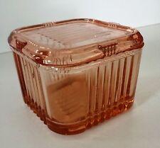 "Vintage Pink Depression 4""x4"" Square Refrigerator Dish With Lid"