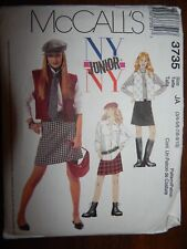 Lined Vest Shirt Skirt Hat Tie McCalls Jr 3-10 UC FF 3735 Juniors Sewing Pattern