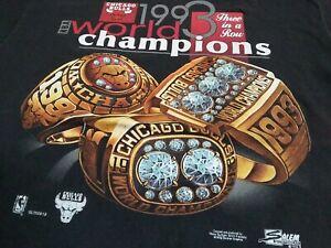 VTG 90s NBA Chicago Bulls 1993 World Champions Champs Ring T Shirt Black Large