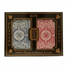 2 Deck KEM 100 Plastic Arrow Red Blue Bridge Narrow Jumbo Index Playing Cards