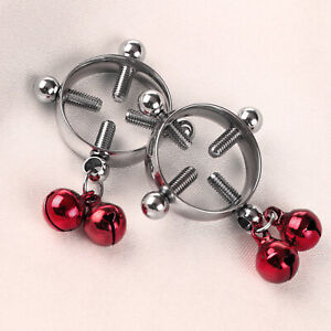 2 Steel Nipple Shields Rings Non-Piercing Circle Clamp Screw Clip on Body w/Bell