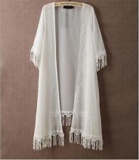 Women Kimono Cardigan Chiffon Long Loose Blouse TASSEL Beach Cover Up Coats Tops