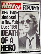 JOHN LENNON Dies Newspaper Beatles Autographed Murdered Legend Daily Mirror Old