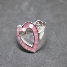 Fine Silver Sterling 925 Rings Jewelry CZ Setting & Pink Double Heart Premium