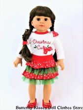 Christmas Cutie Skirt Set 18 in Doll Clothes Fits American Girl Dolls